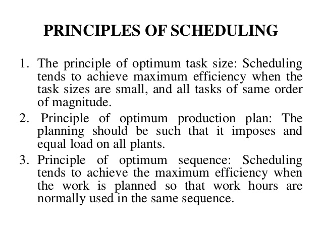 Concept of Material Scheduling or Routing