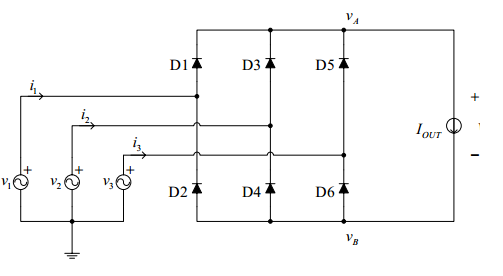 Three Phase Bridge Rectification with Diodes and the Fourier Analysis of waveforms