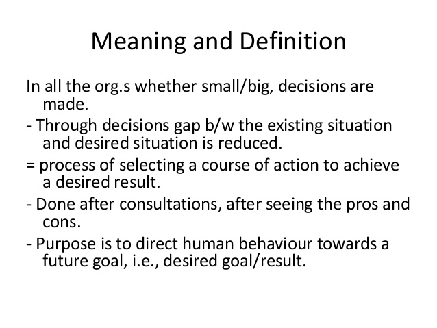 Decision and its types, Improving Planning