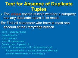 Test for the absence of the duplicate tuple