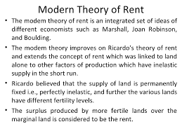 Rent: Modern Theory of Rent