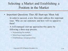 Selecting a market and establishing a position, key market issues and the 4 Ps of marketing for new venture