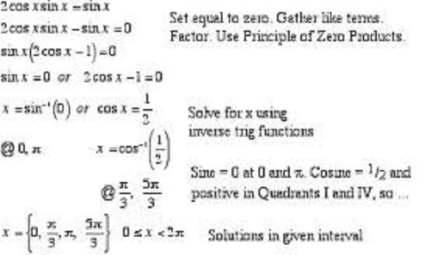 Solution of Trigonometric Equations