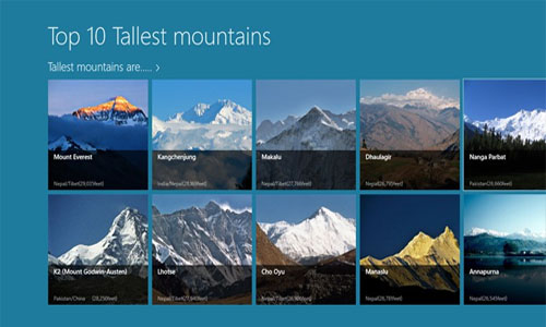 Top ten highest Mountains of the World.