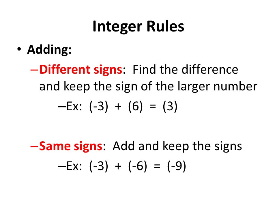 Sign Rules and Properties of Integers
