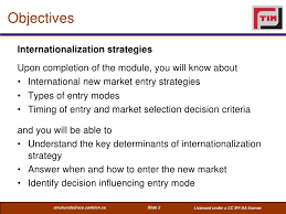 role of strategy in international business, specific objectives of international strategy, and choosing the strategy