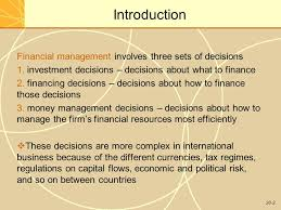 Financial management in international business