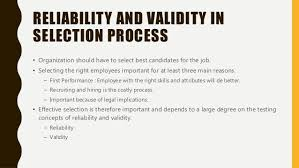 Reliability and Validity in Selection Tests
