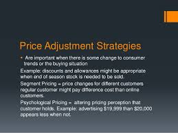 Price Adjustment Decisions
