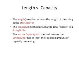 Length and Capacity of a String and String Builder