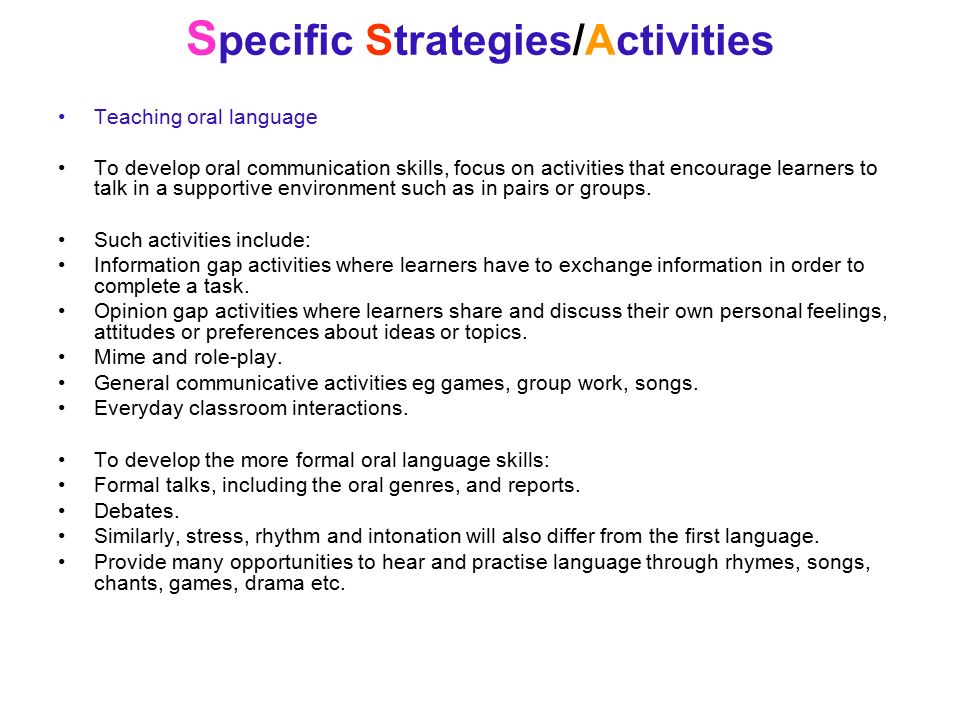 Additional Oral Communication Activities