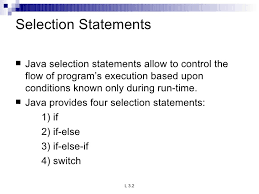 Java Selection Statements and Iteration Statements