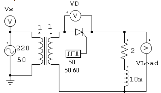 Half Wave Rectification with Thyristor using Inductive and Resistive Load
