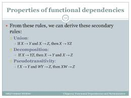 Properties and axiomatization of the functional dependencies
