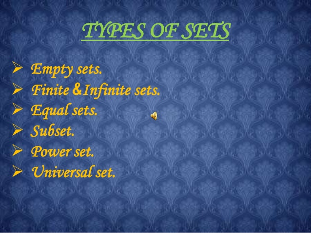 Types of Set and Set Relation