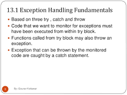 Exception Handling and its Fundamentals