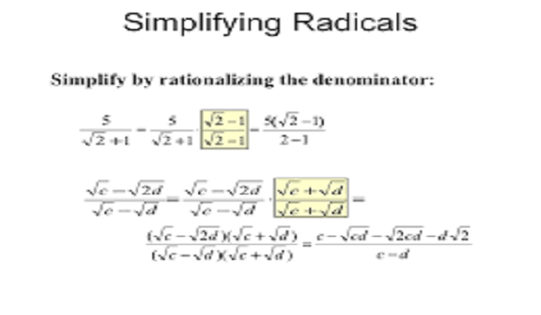 Rationalization and Simplification of algebraic fraction