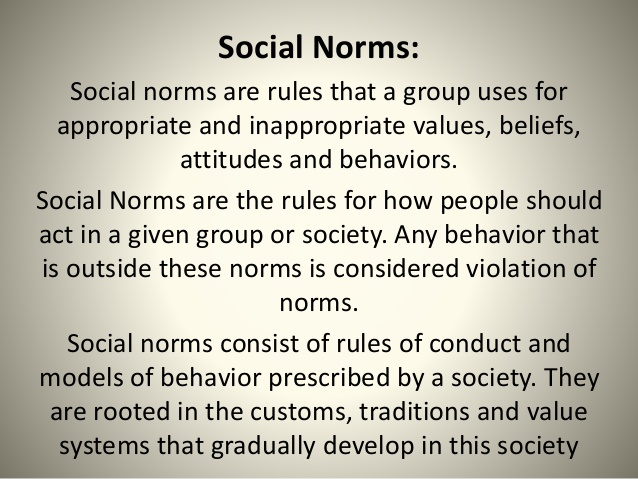 breaking norms of society We will write a custom essay sample on breaking social norms  breaking this social norm in  norms are established standards of behavior maintained by a society.