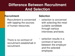 Concept of Selection, Difference Between Selection and Recruitment