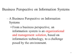 A business perspective of information system