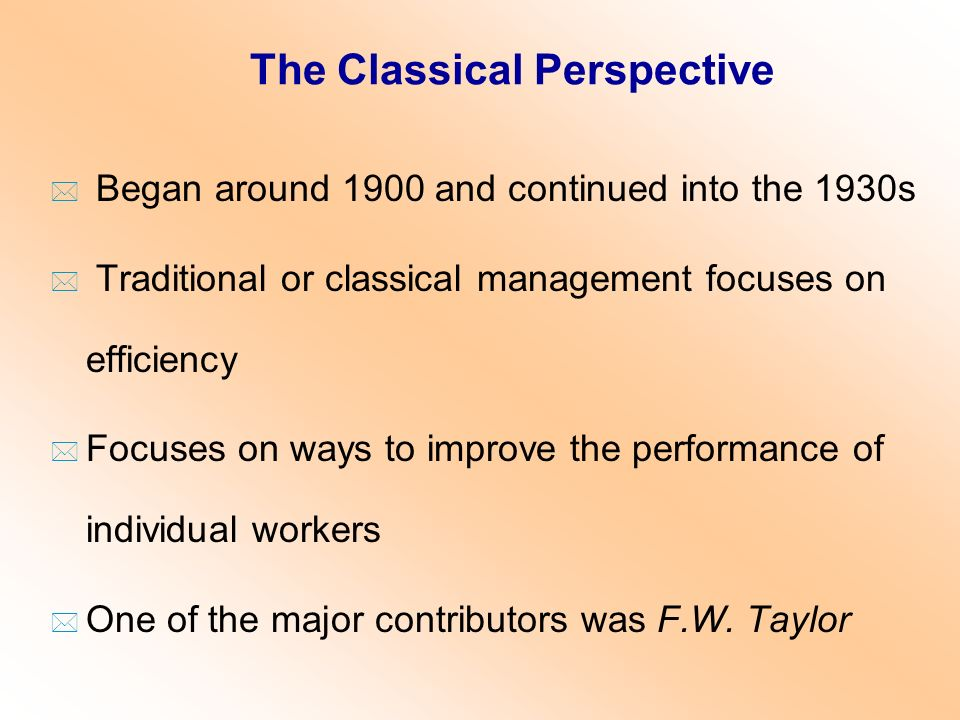 Early Developments and Classical Perspective