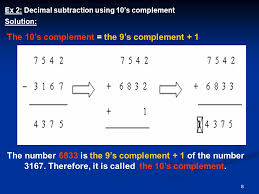 9`s and 10`s complements decimal subtraction