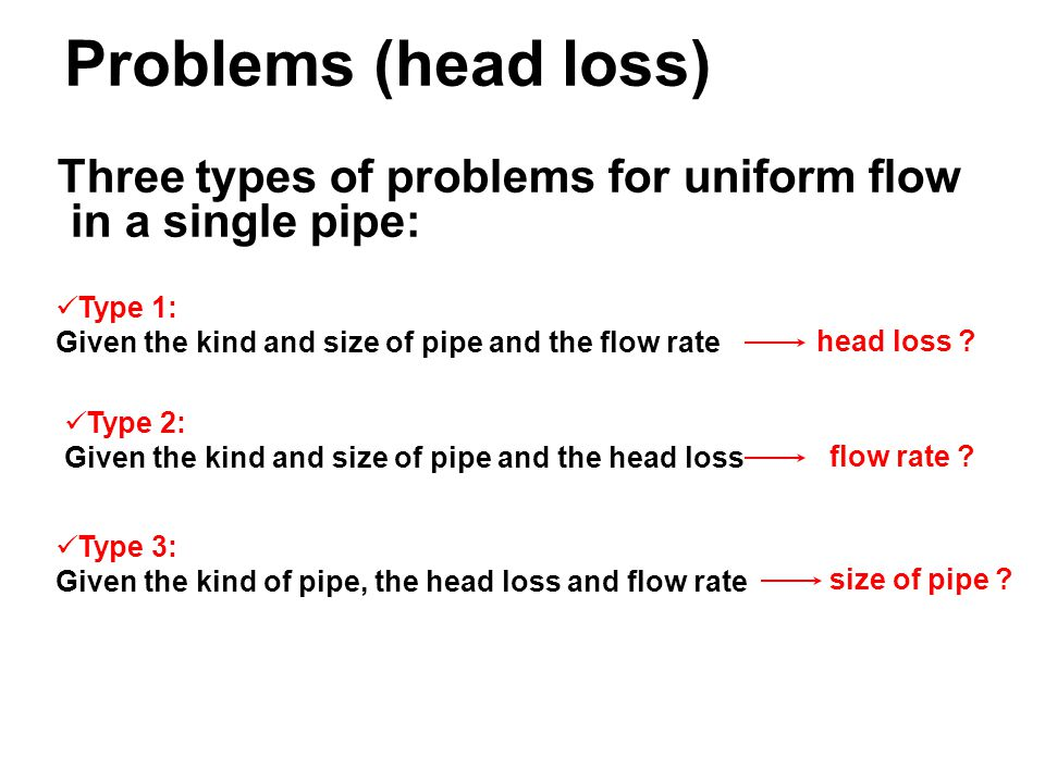 TYPES OF PIPE FLOW PROBLEMS