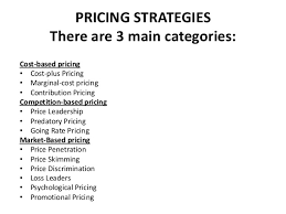 Pricing Strategies