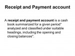 Receipt and Payment Account