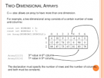 Two Dimensional Arrays