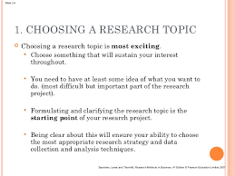 Choosing a research problem and formulating hypothesis