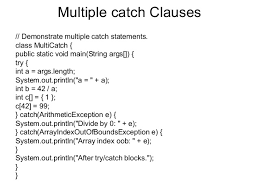 Multiple Catch Clause and Its Example