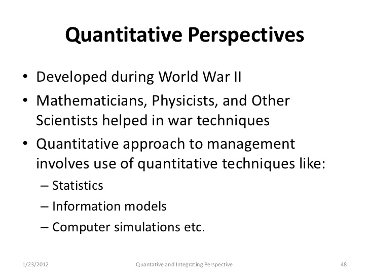 Quantitative Perspective and Decision Theory