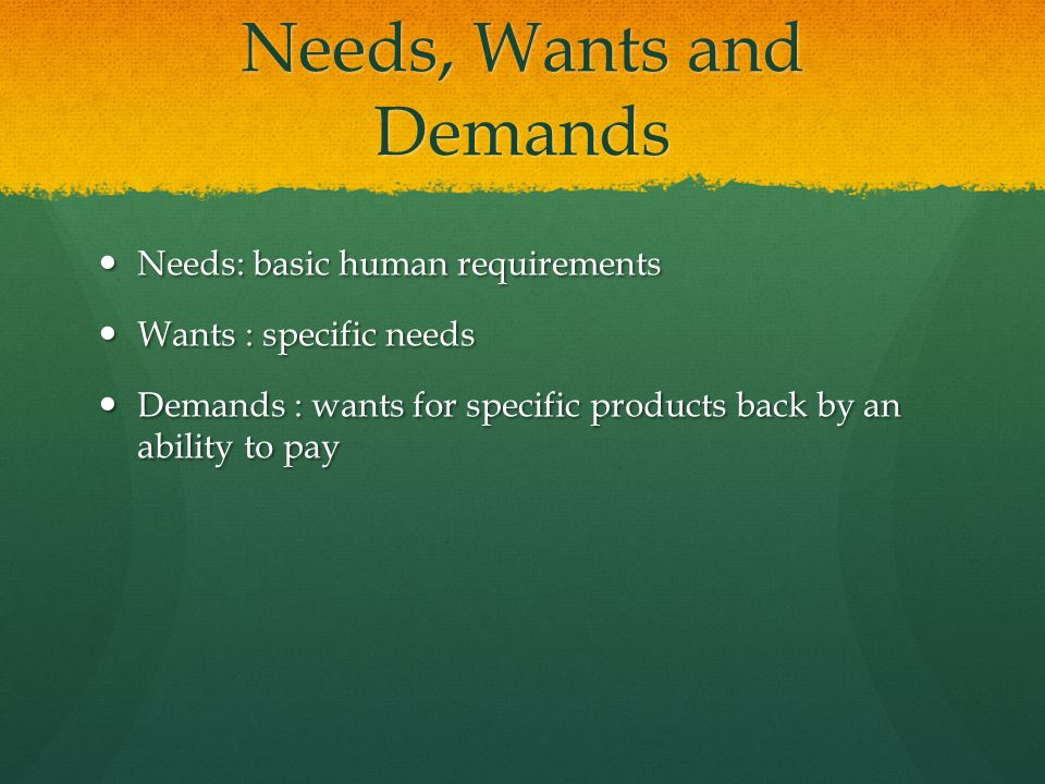 Concept of Needs, Wants and Demands in Marketing