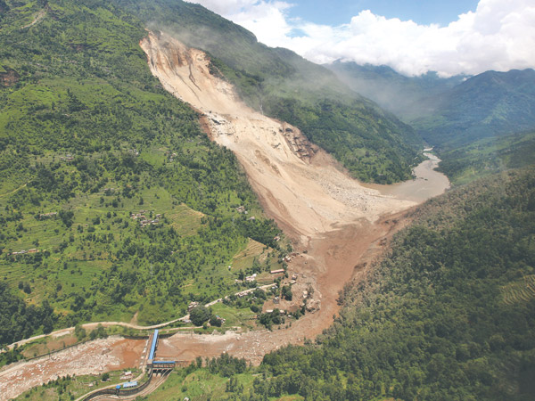 Source:kathmandupost.ekantipur.com. Fig: Landslide in Sindhupalchok of Nepal