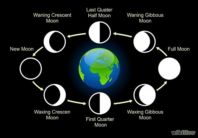 Phases of the moon occur because of following reasons: