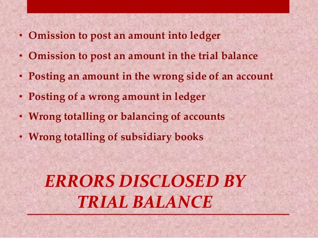 errors disclosed by trial balance Trial balance is an important statement in the  ncert questions  topics:  what are the steps taken by an accountant to locate the errors in the trial balance.