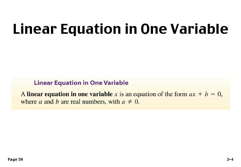 source: www.tes.com Fig: Linear Equation in One Variation