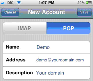 Fig: POP email account