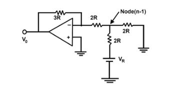 Fig: Equivalent Circuit for R¬-2R ladder network, when MSB is ON and all other are OFF