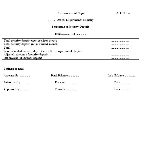 Specimen of Statement of Security Deposit