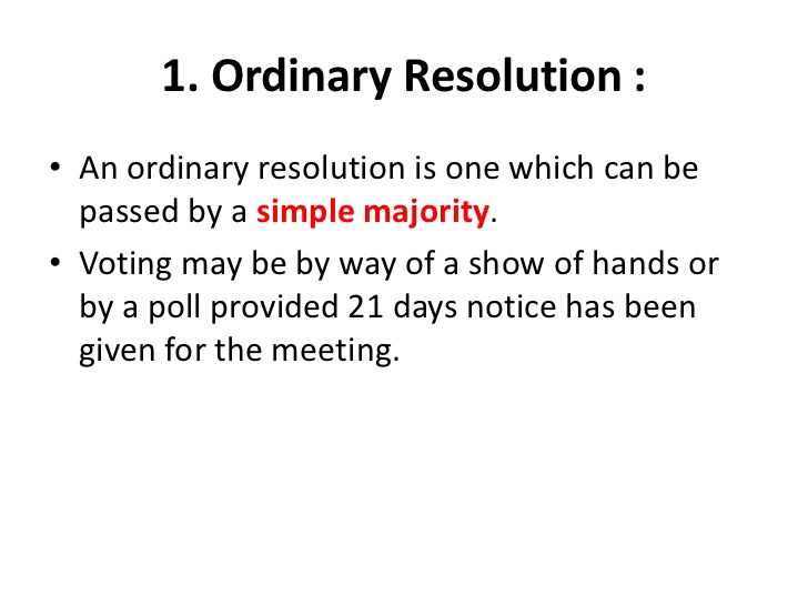 Ordinary Resolution
