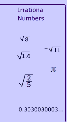 example for Irrational Numbers