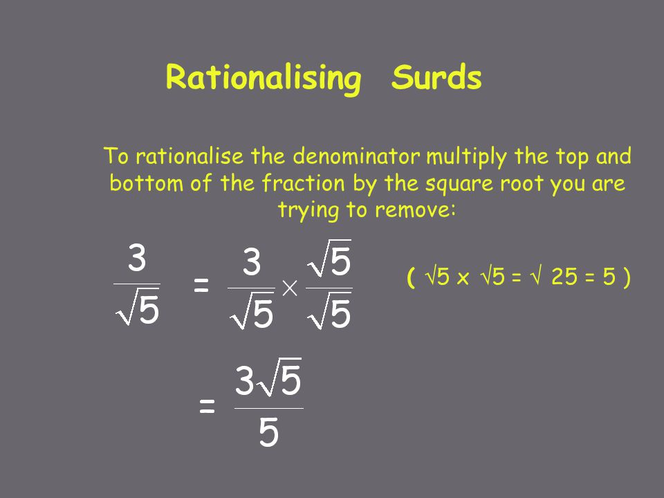 example for Rationalising the Denominator